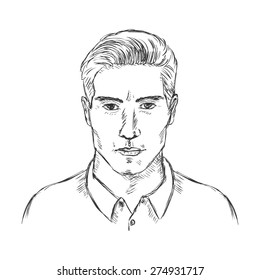 Vector Single Sketch Male Face. Men Hairstyle