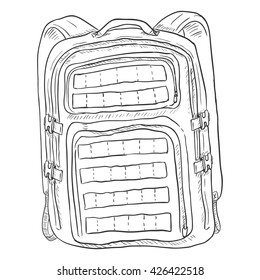 Vector Single Sketch Tactical Backpack. Isolated Background.