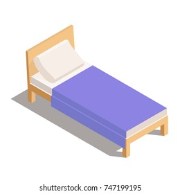 Vector Single Wooden Bed isometric. bed with blanket and pillow. Vector illustration isolated from background