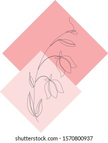 vector single-line drawing, sketch of flowers, lily of the valley, lily, against the background of pink squares, spring and summer flowers, bouquet, freehand drawing,light drawing floral ornament