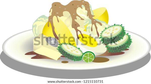Vector Siomay Boiled Cabbage Potato Bistre Stock Vector