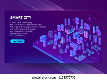 Vector site with 3d isometric megapolis, city in violet colors. Network portal with button. Collection of houses, skyscrapers, buildings with ultraviolet lighting on background