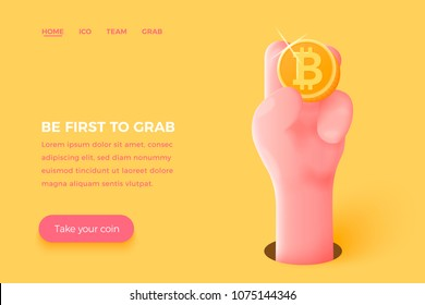 Vector site banner concept - cartoon 3d realistic hand holding golden bitcoin, with place for your text and button. Cryptocurrency landing template.