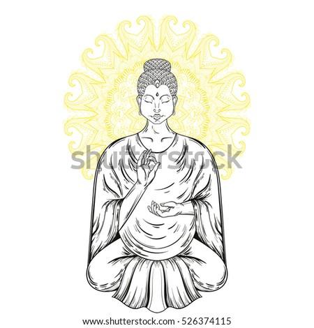 Vector Sitting Buddha Lotus Pose Buddhism Stock Vector Royalty Free