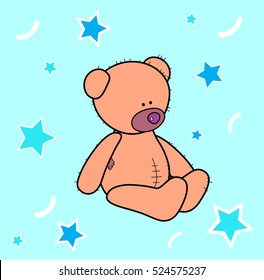 Vector. Sitting teddy bear. Pattern, texture, composition