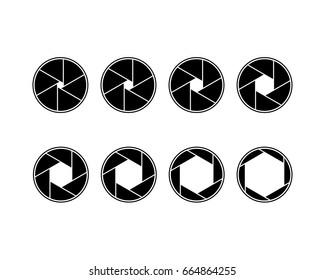 Vector six blade aperture icon set. Camera lens shutter apertures. Photography.
