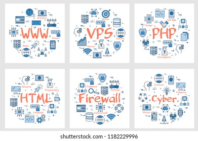 Vector six business square banners - WWW, VPS, PHP, HTML, firewall and cyber concept. Coding, programming languages and internet technology concepts in linear style on white background