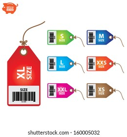 Vector: Size clothing colorful labels. EPS10.
