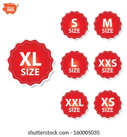Vector: Size clothing XL, XXL, XS, XXS, S, M and L red labels. EPS10.