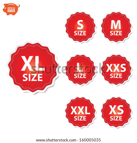 80012f18c3 Vector Size Clothing XL XXL XS Stock Vector (Royalty Free) 160005035 ...