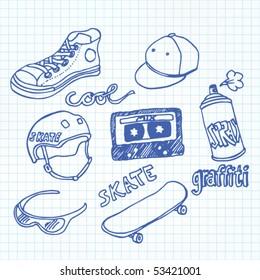 Vector Skateboarding Doodles