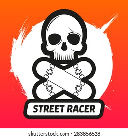 Vector skateboarding emblem with skull and skateboards as bones in style of a pirate flag. EPS 10.