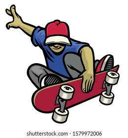 vector of skater in action playing his skateboard