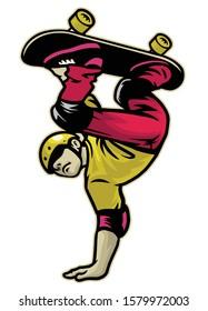 vector of skater doing hand stand trick skateboard