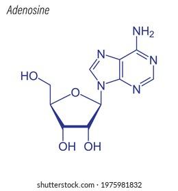Vector Skeletal formula of Adenosine. Drug chemical molecule.
