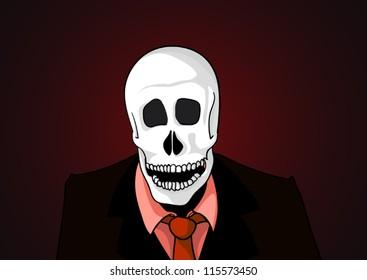 Vector of skeleton in black suit