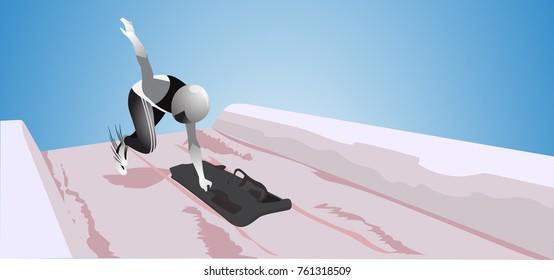Vector skeleton sport. Olympic Winter sport athlete.Vector illustration.