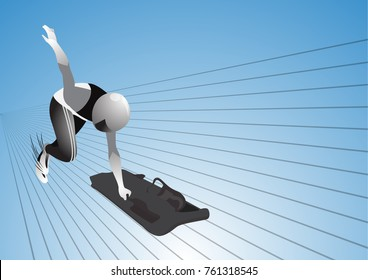 Vector skeleton sport. Olympic Winter sport athlete.Vector illustration.