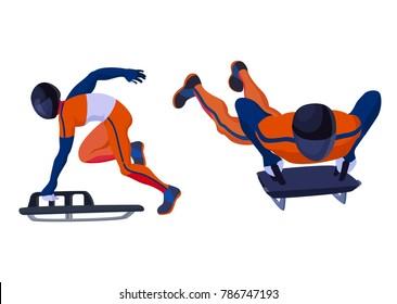 Vector skeleton sportsman winter sport isolated on white sledge man in helmet skeleton sport activity performance sportsman with sledge winter sport skeleton sportive active man running sliding