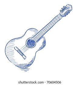 Vector sketch of an acoustic guitar in blue ink