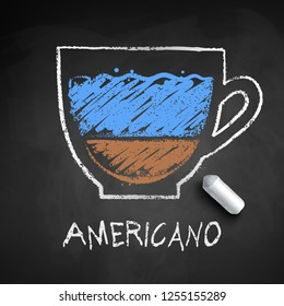 Vector sketch of Americano coffee on chalkboard background with piece of chalk.