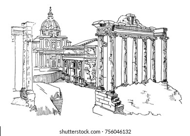 vector sketch of Ancient ruins of a Roman Forum or Foro Romano, Rome, Italy.