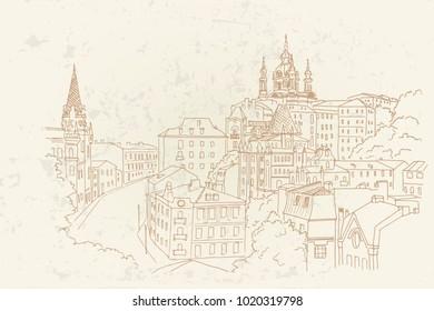 Vector Sketch of Andrew Descent in Kiev, Ukraine.