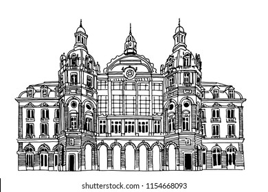 Vector sketch of  Antwerp main railway station. Antwerpen, Belgium.