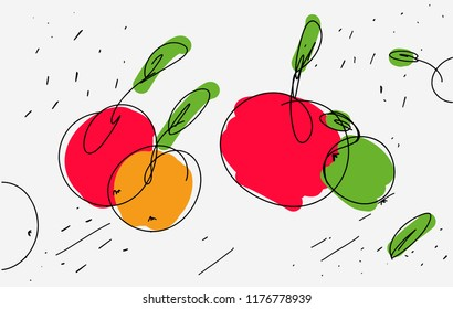 Vector sketch of apples in eclectic style. Light thin lines and curls with colored accents on apple. Use as icon sticker sketch stencil kitchen design on kitchen apron. Vector isolated. Hand drawn
