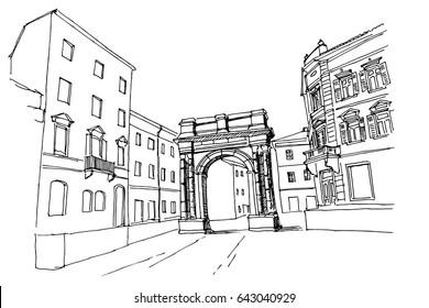 vector sketch of Arch of the Sergii (Golden gate) in Pula. Croatia