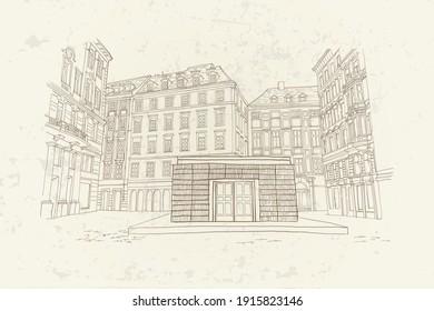 vector sketch of architecture of Jewish Square (Judenplatz) in Vienna, Austria.