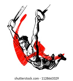 vector sketch athlete doing  exercise