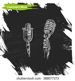 Vector sketch background music microphone. The chalk Board with microphone