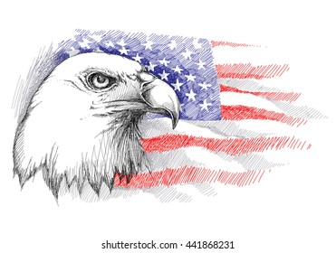 Vector sketch of bald eagle head on the background with American flag isolated. Template with flag and eagle for July 4 isolated. Design for United Stated Independence Day. July fourth greeting card.