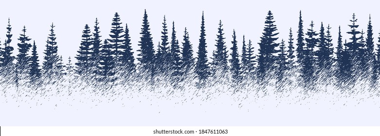 Vector sketch, banner. Forest, imitation of a pencil drawing.