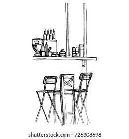 Vector sketch of bar counter and chairs, hand drawn interior illustration