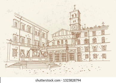 vector sketch of The Basilica of Santa Maria in Trastevere, Rome, Italy.