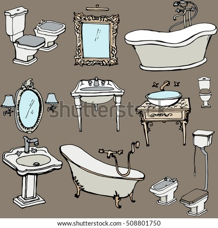 Vector Sketch Bathroom Classic Old Style Stock Vector Royalty Free