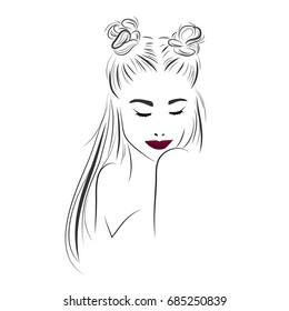 Vector sketch of a beautiful girl with long hair and top knot. Fashion illustration. Woman's hair style top knot