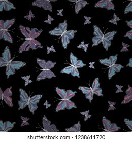 Vector sketch. Beautiful seamless butterfly iterative texture isolated on contrast back layer. Nature butterfly repeat theme in blue, black and violet colors. Wildlife insect fauna backdrop for cover.
