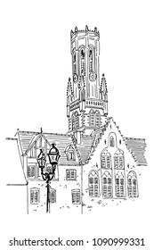 Vector sketch of Belfort van Brugge -  famouse 12th-century belfry Belfort of Bruges and Grote Markt square, Belgium.