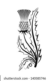 Vector sketch of a black and white flower on a white background. Hand sketch.