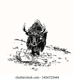 Vector sketch of black yak stands tied on rope to stone, Hand drawn illustration