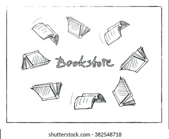 "Vector sketch of the books flying around the word ""Bookstore"""