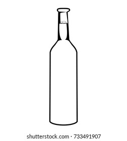 Vector sketch of bottle. Beer bottle isolated on white background. Simple line drawing. Black and white.