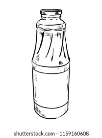 Vector sketch bottle with juice. Hand draw illustration.