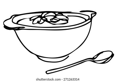 vector sketch of a bowl of soup with herbs and spoon lying next