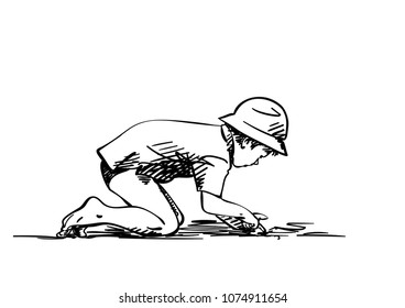Vector sketch of boy in panama hat stands on all fours and picks with his finger in the sand, Hand drawn illustration