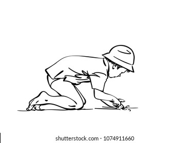 Vector sketch of boy in panama hat stands on all fours and picks with his finger in the sand, Hand drawn linear illustration