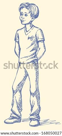 vector sketch boy standing his hands stock vector royalty free